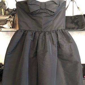 RED VALENTINO Black Bow Front Strapless Dress